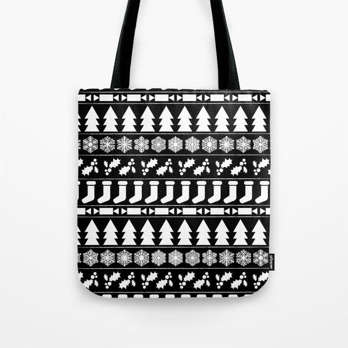 White Christmas Tote Bag by Fimbis      _________________ Bags, black and white, snowflakes, monochrome, bah humbug, festive, xmas,