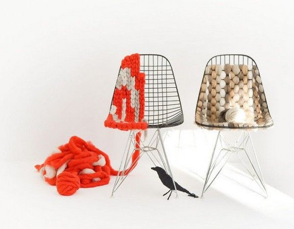 wire chairs with knitting... kinda neato