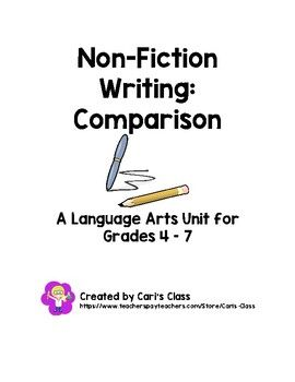 Teaching your students to compare and write about two items has never been easier. This step by step unit, with accompanying mini-lessons and projects, is a simple, minimal prep way to get your students writing! In this unit, you will find: o An information sheet that explains: 1) what comparison writing is, 2) what form comparison writing follows, 3) what language features are used in comparison writing, and 4) examples of items a writer