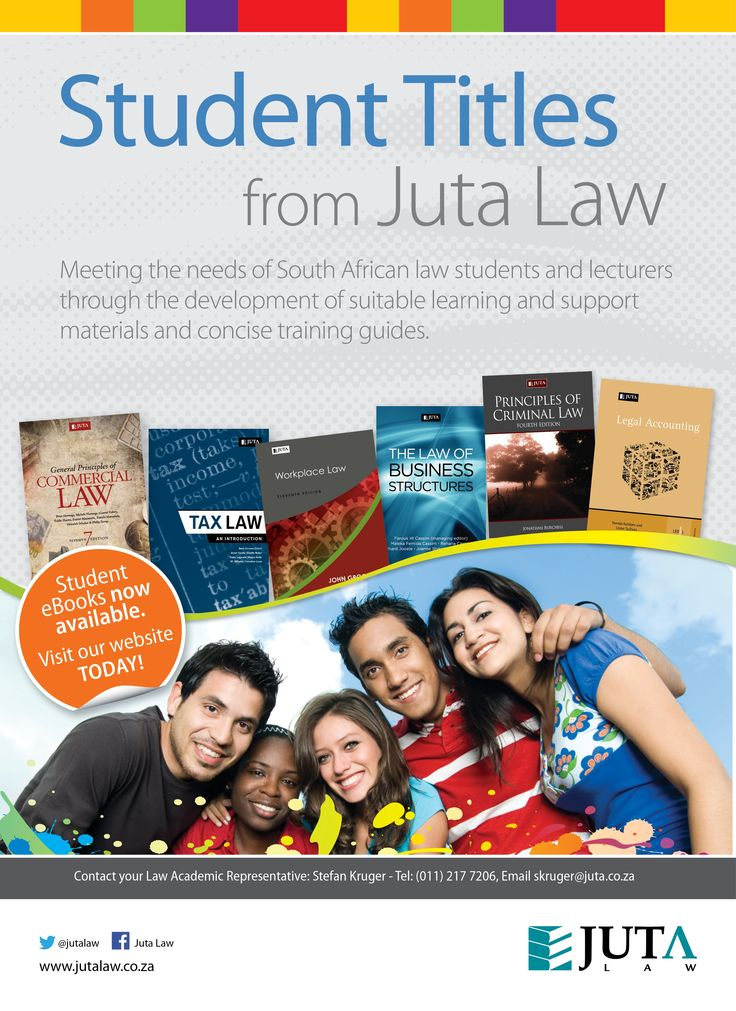 Meeting the needs of South African law students and lecturers through the development of suitable learning and support materials and concise training guides - Student titles from Juta