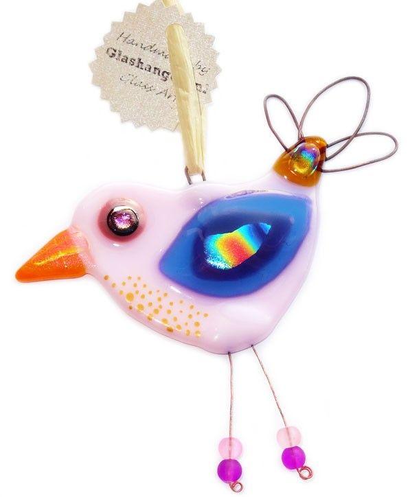 Handgemaakte glazen vogel van roze blauw en oranje glas unieke raamhanger suncatcher huis - Blauwe turquoise decoratie ...