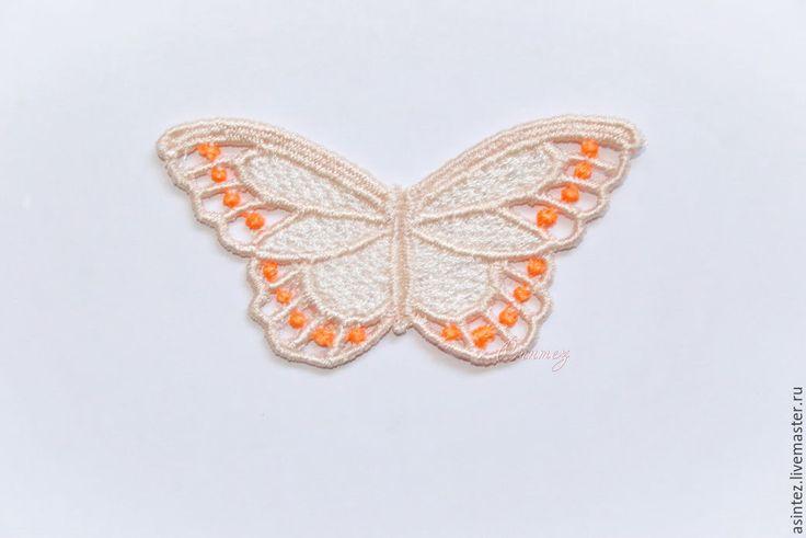 Купить вышивка аппликация Разноцветные бабочки кружево ажур - бежевый, вышивка аппликация, кружевная бабочка