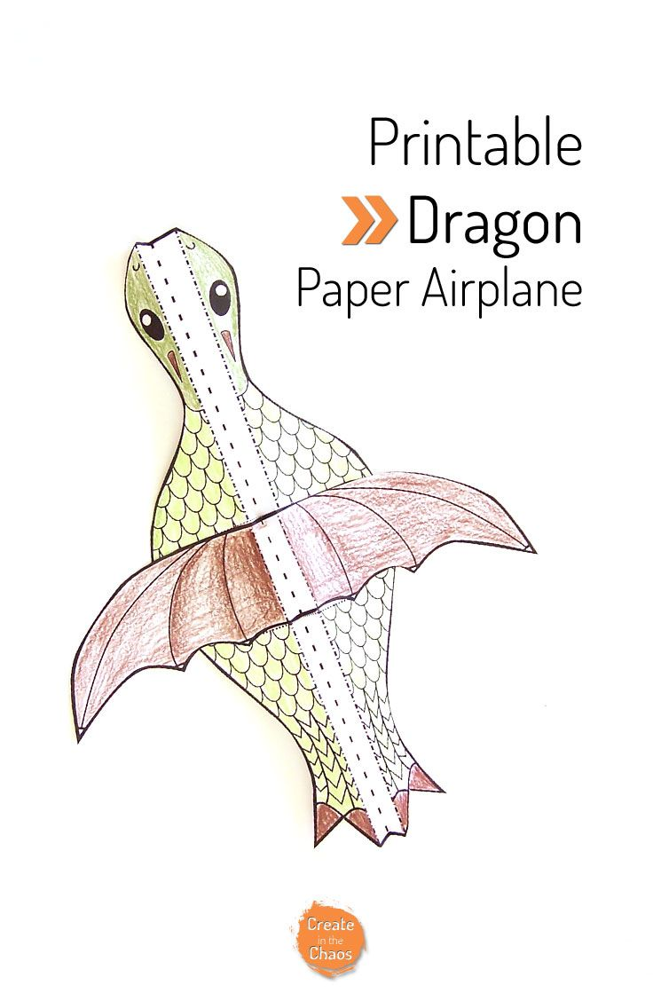 Easy printable kids craft flying dragon paper airplane Plus lots of other free printable