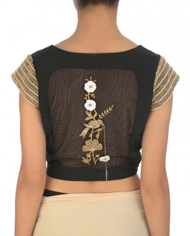 Latte Cream Draped Sari with Black Blouse - Saris - Apparel