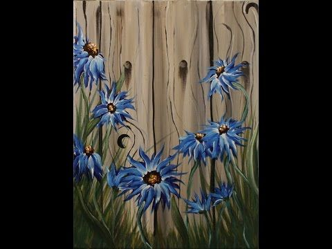 Summer Flowers On The Fence Step By Step Acrylic Painting