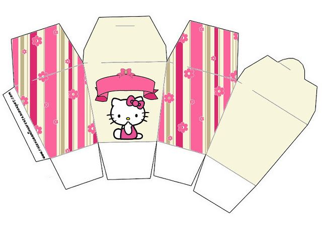 Hello Kitty with Flowers: Free Printable Boxes.