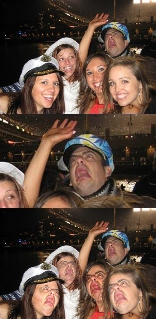Funny face swap photobomb