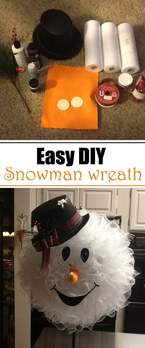 Easy DIY Snowman Wreath                                                                                                                                                                                 More