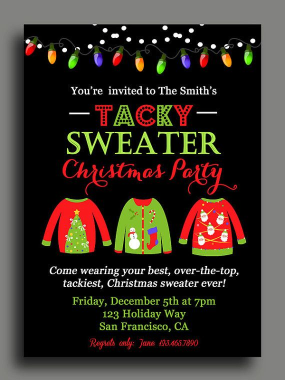 Christmas Tacky Sweater Party Invitation by ThatPartyChick on Etsy
