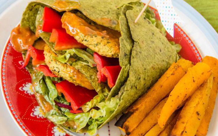 Red Lentil Burger Wraps With Pumpkin Fries [Vegan]   Curry ...