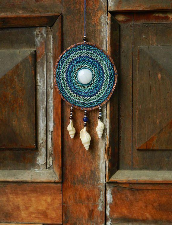 Blue mandala of copper onix stone. Boho decor dreamcatcher.