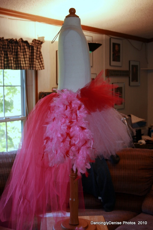 Flamingo costume...could be done in blues, greens, and purples for a peacock....