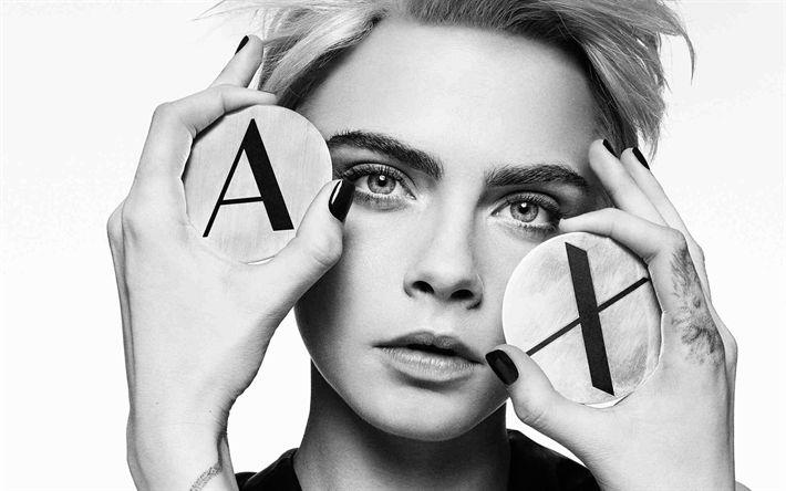 Download wallpapers Cara Delevingne, portrait, 4k, monochrome, British top model, blonde