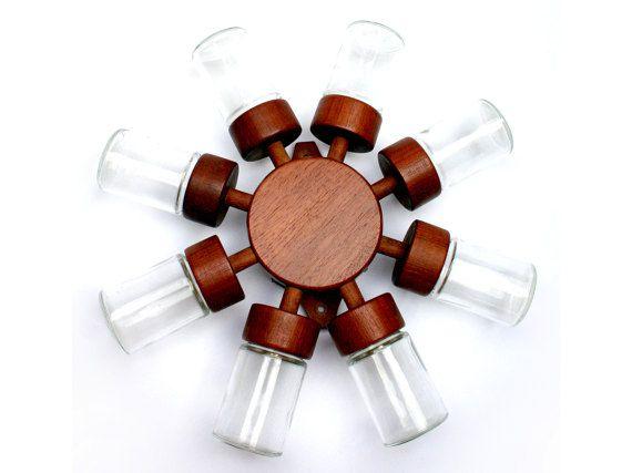 RESERVED FOR T. ____________ DIGSMED spice jar wheel, Scandinavian teak revolving spice rack, Made in Denmark, Vintage 1960s