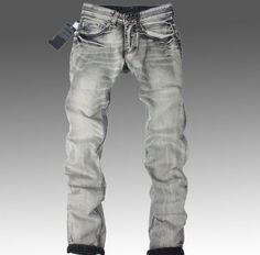 High Quality Mens Jeans Famous Brand Designer Straight Slim Gray – WILLSTYLE