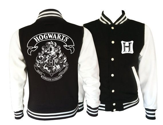 Harry potter Inspired Hogwarts Unisex Adult Black and White varsity jacket. Amazing!    This jacket has loads of features including knitted collar, cuffs and waistband, press stud closure, taped back neck and pocket with small opening for ear phone cord. There are a vast range of sizes in this jacket starting at extra-small and going up to 2 extra-large.      Fabric:  80% cotton, 20% polyester.       Measurements------XS-----------S----------M------------L------------XL---------XXL  1/2…