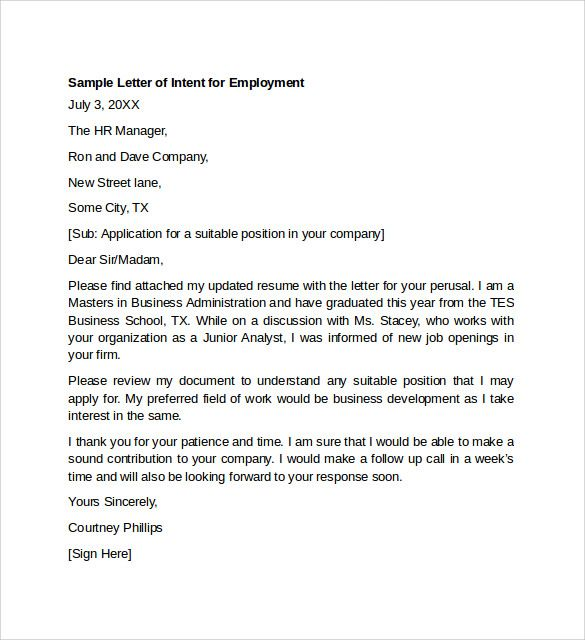 sample letter intent for employment templates download free simple example format
