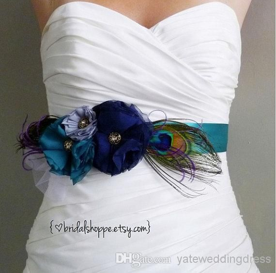 Wholesale Wedding Belt - Buy 2014 Dark Color Peacock Feathers Fast Delivery Bridal Sashes With Bead Hand Made Flower Wedding Belts Wedding Accessories, $41.09   DHgate