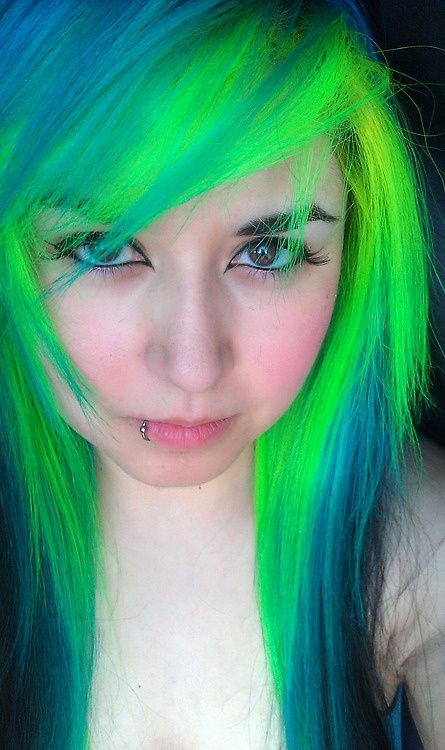 Neon Green Bangs Under A Faded Royal Blue Color