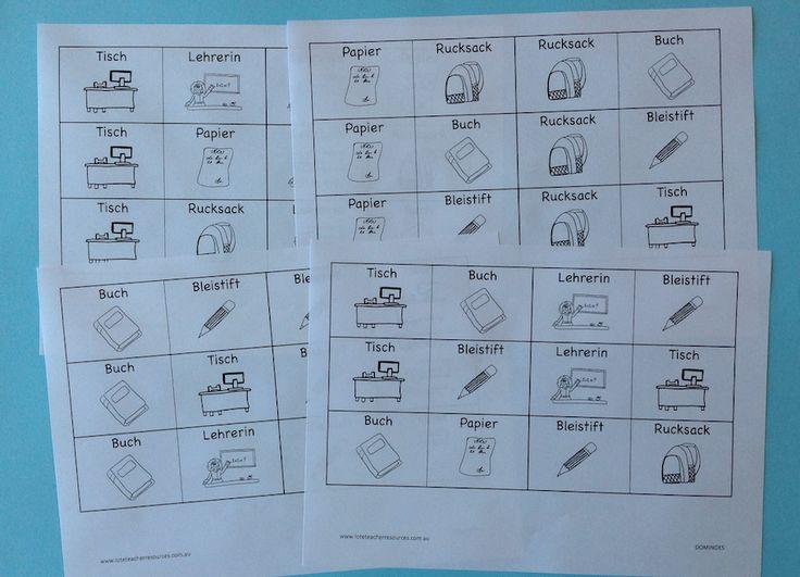 German classroom dominoes cards