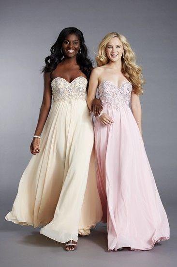 A fabulous crepe chiffon prom dress by Tiffanys UK