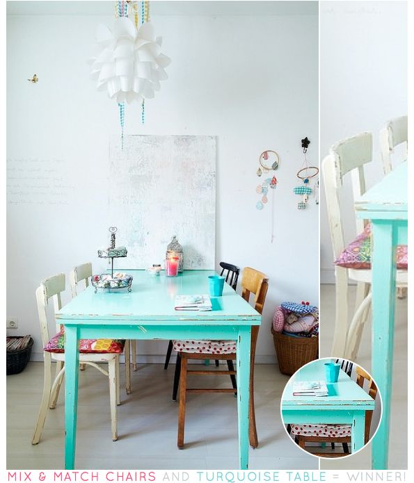 A Turquoise Kitchen/dining Table Makes A Huge Statement And Really Draws  The Eye. I Havenu0027t Seen Any Tables This Colour In Shops, But It Would Be  Really ...