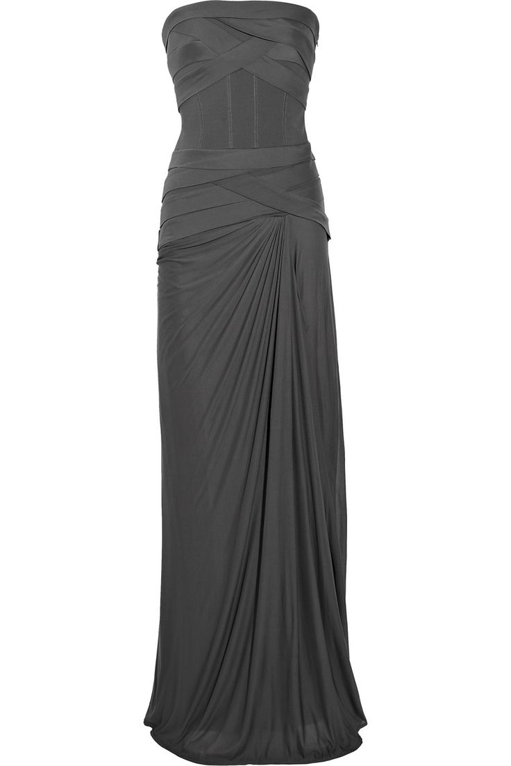 AMANDA WAKELEY Bandage stretch-jersey strapless gown