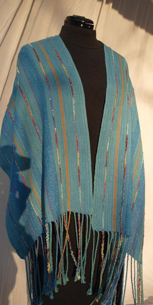 Handwoven Shawl in Cotton and Rayon by studio91 on Etsy, $105.00