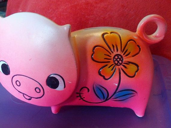Pink Vintage Piggy Bank with Stopper