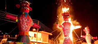 """15)Dussehra is a major Hindu festival that is also known as """"Vijayadashmi."""" It falls during the month of September. It is a 9-day fasting period and coincides with the immersion of the idol of Goddess Durga. On this day, a variety of dishes are eaten. These include, gulab jamun, rabri, malpua, jalebi and chai (tea). Some other dishes that are eaten are called Aloo poori, chole bhature, matar kulcha, soft idlis etc."""
