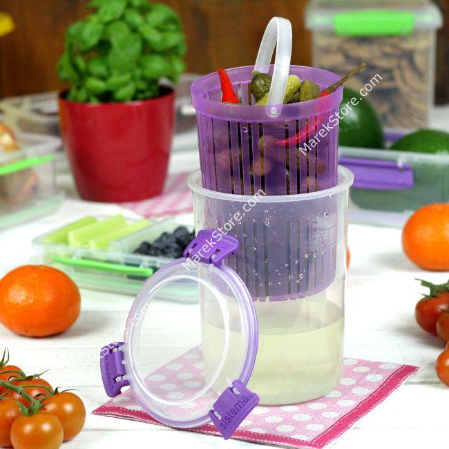 Pojemnik do przechowywania owoców i warzyw w zalewie - 1 litr | SISTEMA KLIP IT ACCENTS ROUND