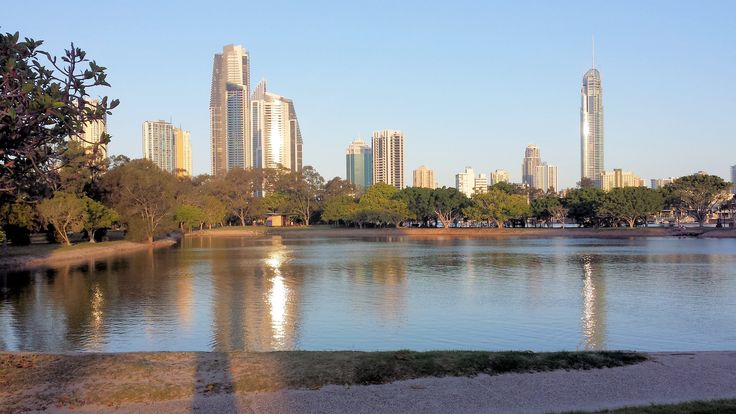The view east from the lagoon across to central Surfers Paradise
