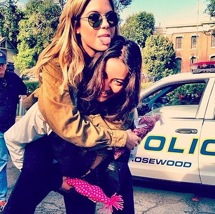Ashley Benson and Shay Mitchell on the set of Pretty Little Liars. #PLL