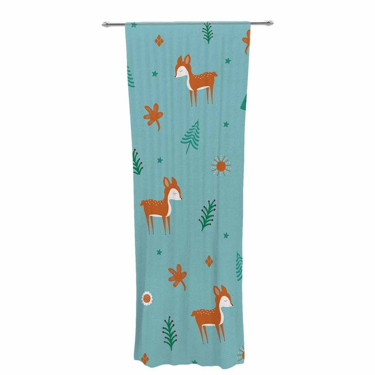 "Cristina bianco Design ""Cute Deer Pattern"" Teal Kids Decorative Sheer Curtain"