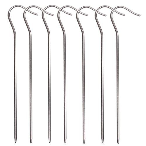 Ellami Pack of 10 Silver Color Ultra Light Titanium Shepherd's Hook Tent Stake ** Click image for more details.