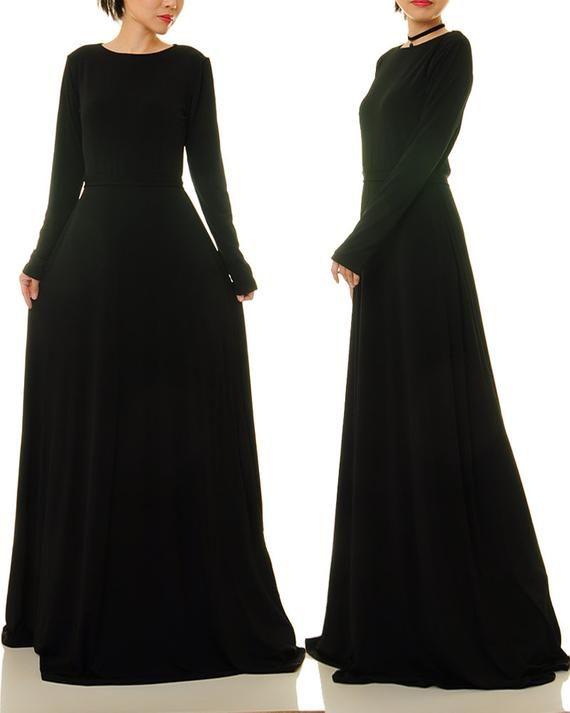 Black Maxi Dress Long Sleeves Long Black Dress Fit Flare Etsy Long Sleeve Black Maxi Dress Long Black Maxi Dress Black Gown Long