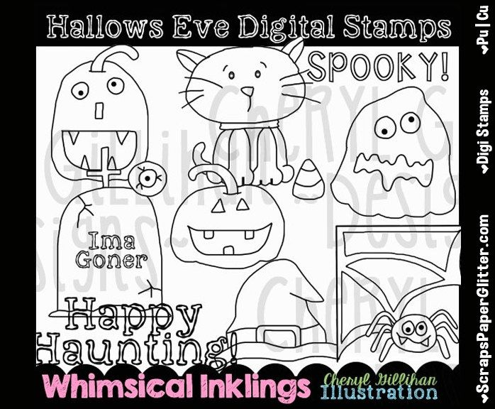 Hallows Eve Digital Stamps, Black and White Image, Graphic, Commercial Use, Instant Download, Line Art, Halloween, Jackolantern, black cat by ResellerClipArt on Etsy