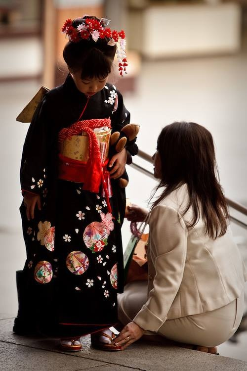 Girl wearing Kimono at Shichi-go-san, a festival for children of three, five and seven years of age