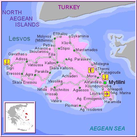 Carte de Lesbos Lesvos map