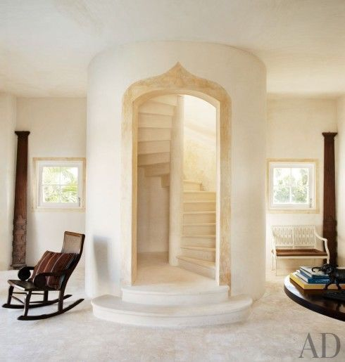 Beautiful staircase in a cob house!