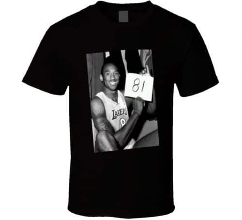 A Kobe Bryant t-shirt featuring him in his Los Angeles Lakers jersey celebrating his famous 81-point game against the Toronto Raptors.