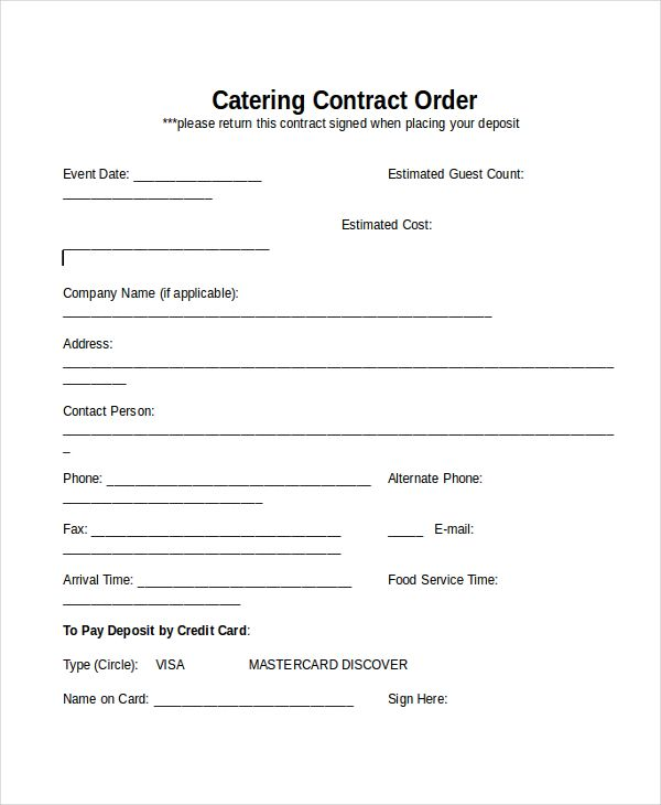 Catering Contracts Templates Contract Template Catering Services Contract