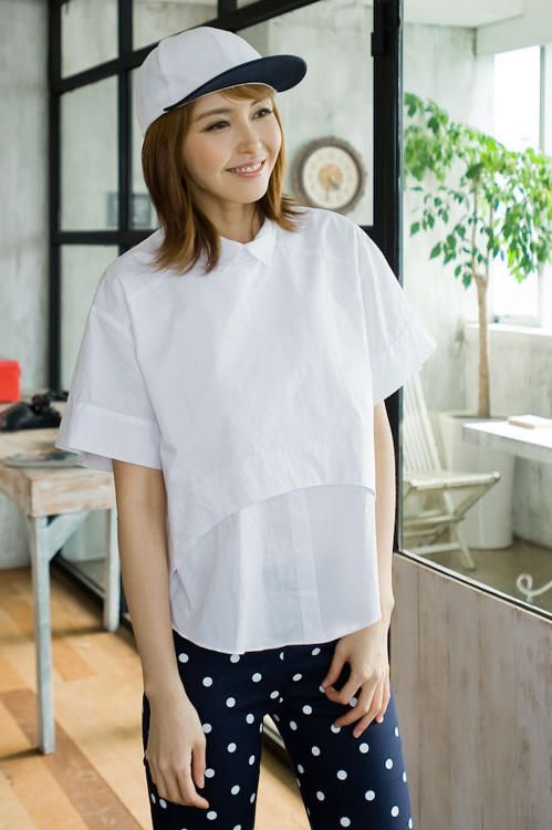 uneven white shirt from Kakuu Basic. Saved to Kakuu Basic Blouses & Shirts. Shop more products from Kakuu Basic on Wanelo.