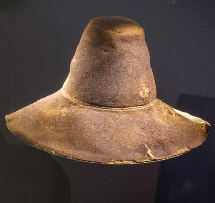 Lappvattnet medieval hat, Sweden. First thought to date from 17th century but C14 confirmed its date between 1310 and 1440, with a probability peak of around 1400. This makes it one of the best preserved medieval hats in Sweden, Scandinavia and possibly even Europe.
