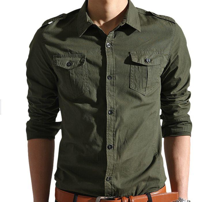 Новые мужские с длинными рукавами повседневная рубашка Тонкий хлопок рубашка армия зеленый лето осень мужской фитнес случайные рубашки бесплатно доставка