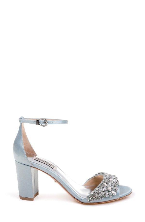 e624b30d2b3 Badgley Mischka Hines Embellished Block Heel Sandal Crystal Blue Satin  yak 64085