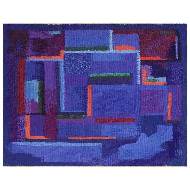 Shades of Purpple and Blue.. Vintage Scandinavian Tapestry Rug by Eevahenna Aalto | From a unique collection of antique and modern russian and scandinavian rugs at https://www.1stdibs.com/furniture/rugs-carpets/russian-scandinavian-rugs/