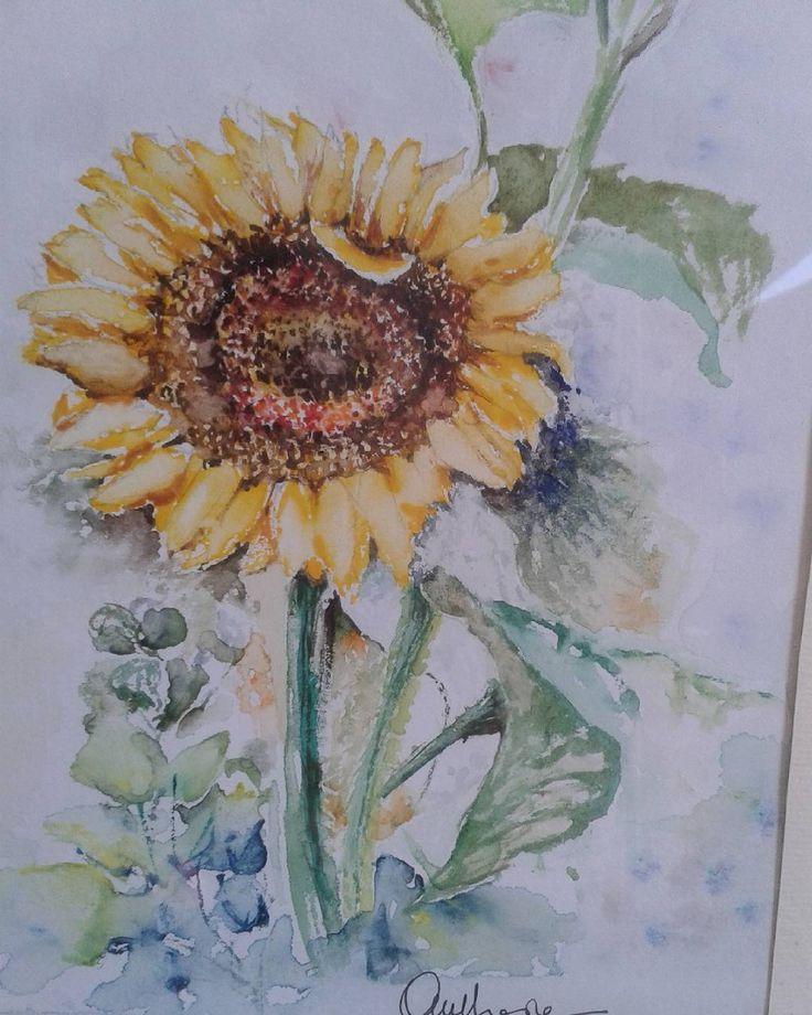 """Buon onomastico a me e a tutte le """"Anna"""" ! L ' augurio è che il  Sole  ci illumini .... sempre .... ! . #acquerello #autodidatta #watercolor #girasole #colori #nature #onomastico #fiori #auguri #amici"""