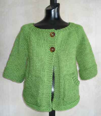 Knitting Pattern Baby Sweater Chunky Yarn : #73 Womens Top-Down Short-Sleeved Cardigan PDF Knitting ...