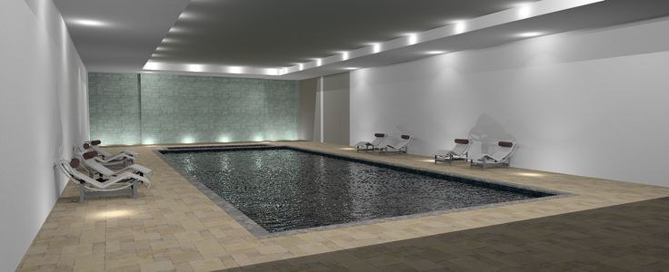 Nice swimming pool with moving floor down